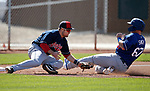 Indians' Dillon Persinger tags out Dodgers' Will Smith during a triple-A spring training game against the Indians, in Goodyear, Ariz., on Wednesday, March 13, 2019. <br /> Photo by Cathleen Allison/Nevada Momentum