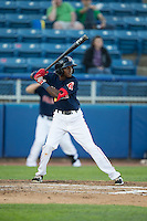 Jose Vinicio (3) of the Salem Red Sox at bat against the Winston-Salem Dash at LewisGale Field at Salem Memorial Ballpark on May 13, 2015 in Salem, Virginia.  The Red Sox defeated the Dash 8-2.  (Brian Westerholt/Four Seam Images)