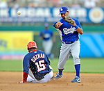 15 March 2008: Los Angeles Dodgers' second baseman Luis Maza turns a double-play during a Spring Training game against the Washington Nationals at Space Coast Stadium, in Viera, Florida...Mandatory Photo Credit: Ed Wolfstein Photo