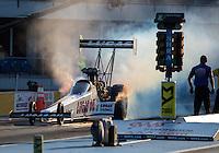 Oct 14, 2016; Ennis, TX, USA; NHRA top fuel driver Richie Crampton during qualifying for the Fall Nationals at Texas Motorplex. Mandatory Credit: Mark J. Rebilas-USA TODAY Sports