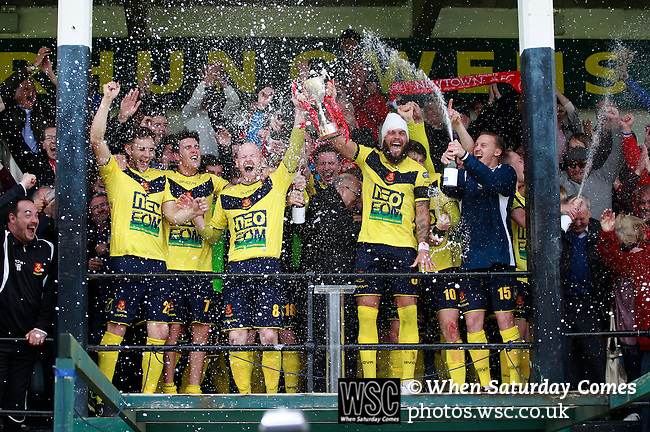 Aberystwyth Town 1 Newtown 2, 17/05/2015. Park Avenue, Europa League Play Off final. Newtown's players celebrate with the Play Off Winners trophy. Aberystwyth finished 14 points above Newtown in the Welsh Premier League, but were beaten 1-2 in the Play Off Final. Photo by Paul Thompson.