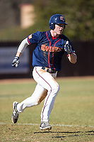 Cody Ezolt (6) of the Shippensburg Raiders hustles down the first base line against the Belmont Abbey Crusaders at Abbey Yard on February 8, 2015 in Belmont, North Carolina.  The Raiders defeated the Crusaders 14-0.  (Brian Westerholt/Four Seam Images)