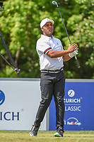 Harold Varner III (USA) watches his tee shot on 8 during Round 1 of the Zurich Classic of New Orl, TPC Louisiana, Avondale, Louisiana, USA. 4/26/2018.<br /> Picture: Golffile | Ken Murray<br /> <br /> <br /> All photo usage must carry mandatory copyright credit (&copy; Golffile | Ken Murray)