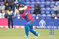 Gulbadin Naib (Afghanistan)  drives straight during Afghanistan vs Sri Lanka, ICC World Cup Cricket at Sophia Gardens Cardiff on 4th June 2019