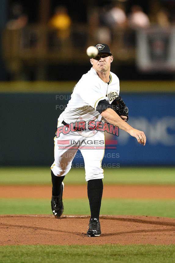Bradenton Marauders pitcher Tyler Waldron (25) delivers a pitch during a game against the Jupiter Hammerheads on April 17, 2014 at McKechnie Field in Bradenton, Florida.  Bradenton defeated Jupiter 2-1.  (Mike Janes/Four Seam Images)