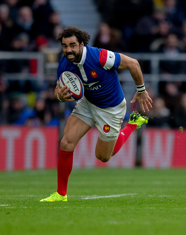 France's Yoann Huget<br /> <br /> Photographer Bob Bradford/CameraSport<br /> <br /> Guinness Six Nations Championship - England v France - Sunday 10th February 2019 - Twickenham Stadium - London<br /> <br /> World Copyright © 2019 CameraSport. All rights reserved. 43 Linden Ave. Countesthorpe. Leicester. England. LE8 5PG - Tel: +44 (0) 116 277 4147 - admin@camerasport.com - www.camerasport.com