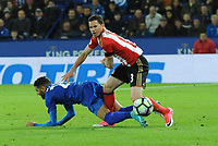 Riyad Mahrez of Leicester City Bryan Oviedo of Sunderland during the Premier League match between Leicester City v Sunderland played at King Power Stadium, Leicester on 4th April 2017.<br /> <br /> available via IPS Photo Agency/Rex Features  only