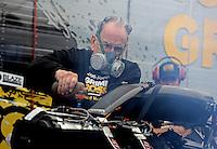 Feb. 23, 2013; Chandler, AZ, USA; NHRA funny car team owner Jim Dunn during qualifying for the Arizona Nationals at Firebird International Raceway. Mandatory Credit: Mark J. Rebilas-