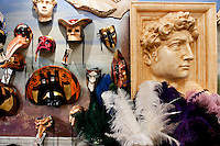 Artisan masks on display at ' Ca' Macana ' showroom in Dorsoduro district of Venice, Italy