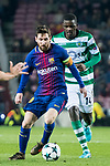 Lionel Andres Messi (l) of FC Barcelona is followed by William Carvalho of Sporting CP during the UEFA Champions League 2017-18 match between FC Barcelona and Sporting CP at Camp Nou on 05 December 2017 in Barcelona, Spain. Photo by Vicens Gimenez / Power Sport Images