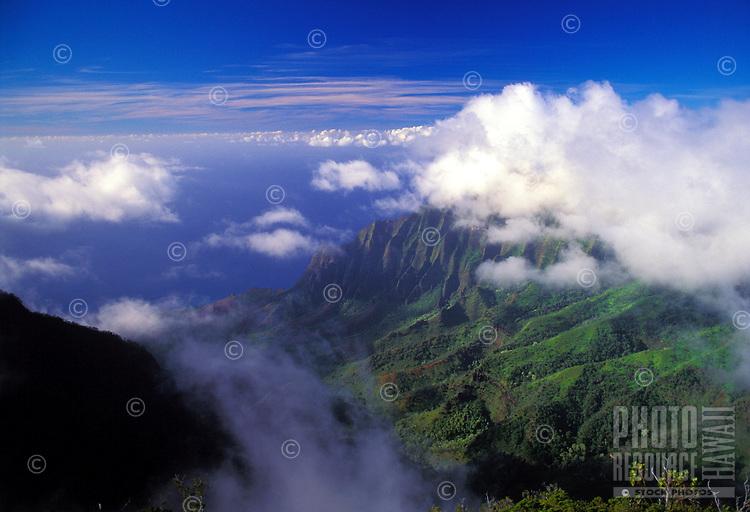 Clouds clear over Kalalau valley, Kokee state park, Kauai