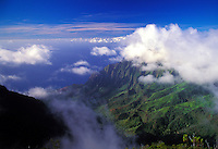 Clouds clear over Kalalau valley, Kokee state park, Kauai
