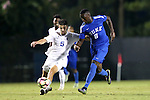 27 September 2016: Duke's Cameron Moseley (6) and Georgia State's Nick Hague (ENG) (5). The Duke University Blue Devils hosted the Georgia State University Panthers at Koskinen Stadium in Durham, North Carolina in a 2016 NCAA Division I Men's Soccer match. Georgia State won the game 2-1 in two overtimes.