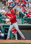 11 March 2016: Philadelphia Phillies catcher J.P. Arencibia in action during a Spring Training pre-season game against the Atlanta Braves at Champion Stadium in the ESPN Wide World of Sports Complex in Kissimmee, Florida. The Phillies defeated the Braves 9-2 in Grapefruit League play. Mandatory Credit: Ed Wolfstein Photo *** RAW (NEF) Image File Available ***