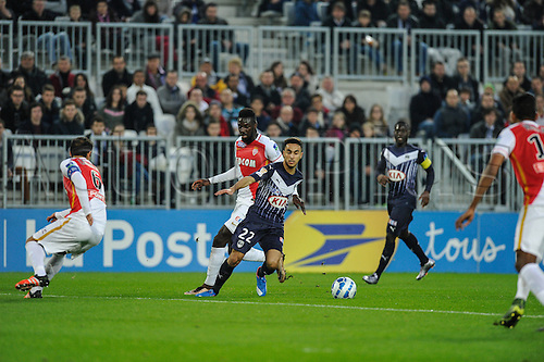 16.12.2015. Bordeaux, France. French League cup football from the Stade Chaban-Delmas. Bordeaux versus Monaco.  Adam Ounas (gir)  brraks into the Monaco area and scores in the 16th minute