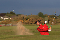Harry Goddard (Hanbury Manor) plays out of a bunker on the 18th during Round 4 of the Lytham Trophy 2019, held at Royal Lytham & St. Anne's, Lytham, Lancashire, England. 05/05/19<br /> <br /> Picture: Thos Caffrey / Golffile<br /> <br /> All photos usage must carry mandatory copyright credit (© Golffile | Thos Caffrey)