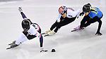Maame Biney (USA, 135), Alang Kim (KOR, 128) and Anastassiya Krestova (KAZ). Short track. Gangneung ice arena. Pyeongchang2018 winter Olympics. Gangneung. Republic of Korea. 10/02/2018. ~ MANDATORY CREDIT Garry Bowden/SIPPA - NO UNAUTHORISED USE - +44 7837 394578