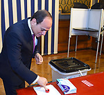 This handout picture released by the Egyptian Presidency on April 20, 2019, shows Egyptian president Abdel Fattah al-Sisi casting his vote during the first day of three-day voting at a polling station in Cairo, Egypt, April 20, 2019. Egyptians are voting on constitutional amendments that would allow President Abdel-Fattah el-Sissi to stay in power until 2030. Photo by Egyptian President Office