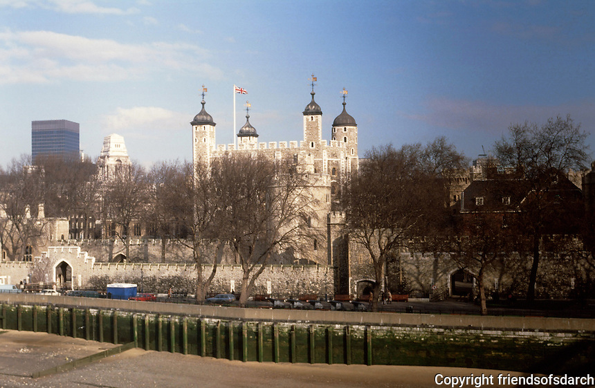 London:  Tower of London from Tower Bridge.  Photo 2005.
