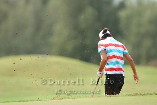 February 18, 2006; Kahuku, HI - Hee Won Han hits out of a bunker during the final round of the LPGA SBS Open at Turtle Bay Resort...Mandatory photo credit: Darrell Miho.© Darrell Miho