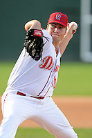 Pitcher Michael Gunn (39) of the Greenville Drive delivers a pitch in a game against the Savannah Sand Gnats on Sunday, July 5, 2015, at Fluor Field at the West End in Greenville, South Carolina. Savannah won, 8-6. (Tom Priddy/Four Seam Images)