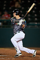 Daytona Tortugas catcher Tyler Stephenson (30) follows through on a swing during a game against the Jupiter Hammerheads on April 13, 2018 at Jackie Robinson Ballpark in Daytona Beach, Florida.  Daytona defeated Jupiter 9-3.  (Mike Janes/Four Seam Images)