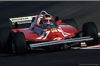 LAS VEGAS, NV - OCTOBER 17: Gilles Villeneuve drives the Ferrari F126CK 052/Ferrari 021 during practice for the 1981 Caesars Palace Grand Prix on October 17, 1981, at the Caesars Palace Hotel in Las Vegas, Nevada.