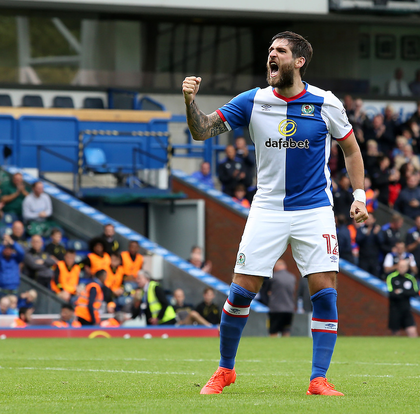 Blackburn Rovers' Danny Graham celebrates Craig Conway giving his side a 1-0 lead<br /> <br /> Photographer David Shipman/CameraSport<br /> <br /> Football - The EFL Sky Bet Championship - Blackburn Rovers v Burton Albion - Saturday 20 August 2016 - Ewood Park - Blackburn<br /> <br /> World Copyright &copy; 2016 CameraSport. All rights reserved. 43 Linden Ave. Countesthorpe. Leicester. England. LE8 5PG - Tel: +44 (0) 116 277 4147 - admin@camerasport.com - www.camerasport.com