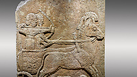 Picture &amp; image of Hittite relief sculpted orthostat stone panel of Long Wall Limestone, Karkamıs, (Kargamıs), Carchemish (Karkemish), 900 - 700 B.C. Anatolian Civilisations Museum, Ankara, Turkey<br /> <br /> Chariot. One of the two figures in the chariot holds the horse's headstall while the other throws arrows. There is a naked enemy with an arrow in his hip lying face down under the horse's feet It is thought that this figure is depicted smaller than the other figures since it is an enemy soldier. The lower part of the orthostat is decorated with braiding motifs. <br /> <br /> On a gray background.