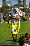 London, UK on Sunday 31st August, 2014. Mazzi Maz dressed in a banana outfit during the Soccer Six charity celebrity football tournament at Mile End Stadium, London.