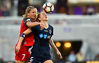 Orlando, FL - Saturday October 14, 2017: Lindsey Horan, Samantha Mewis  during the NWSL Championship match between the North Carolina Courage and the Portland Thorns FC at Orlando City Stadium.