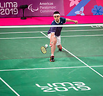 Lima, Peru -  31/August/2019 -   Pascal Lapointe competes in the bronze medal match in badminton at the Parapan Am Games in Lima, Peru. Photo: Dave Holland/Canadian Paralympic Committee.