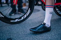 Alex Dowsett's (GBR/Katusha-Alpecin) custom carbon shoes > seems very similar then those made by Adam Hansen<br /> <br /> MEN ELITE INDIVIDUAL TIME TRIAL<br /> Hall-Wattens to Innsbruck: 52.5 km<br /> <br /> UCI 2018 Road World Championships<br /> Innsbruck - Tirol / Austria