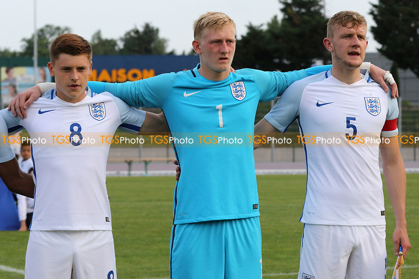 From left to right. Harvey Barnes, Ryan Schofield and Joe Worrall during England U18 vs Cuba Under-20, Toulon Tournament Football at Stade d'Honneur Marcel Roustan on 1st June 2017