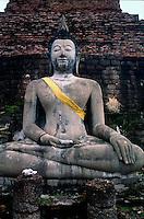 Wat Phra Si Rattana Mahathat (Woravihara) - carved statue of Lord Buddha.  Sukhothai Historical Park, Thailand
