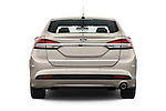 Straight rear view of 2017 Ford Fusion-Hybrid Hybrid-SE 4 Door Sedan Rear View  stock images
