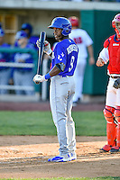 Errol Robinson (9) of the Ogden Raptors at bat against the Orem Owlz in Pioneer League action at Home of the Owlz on June 25, 2016 in Orem, Utah. Orem defeated Ogden 4-1.  (Stephen Smith/Four Seam Images)