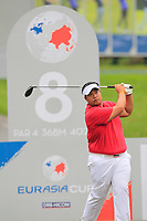 Kiradech Aphibarnrat (Asia) on the 8th tee during the Friday Foursomes of the Eurasia Cup at Glenmarie Golf and Country Club on the 12th January 2018.<br /> Picture:  Thos Caffrey / www.golffile.ie