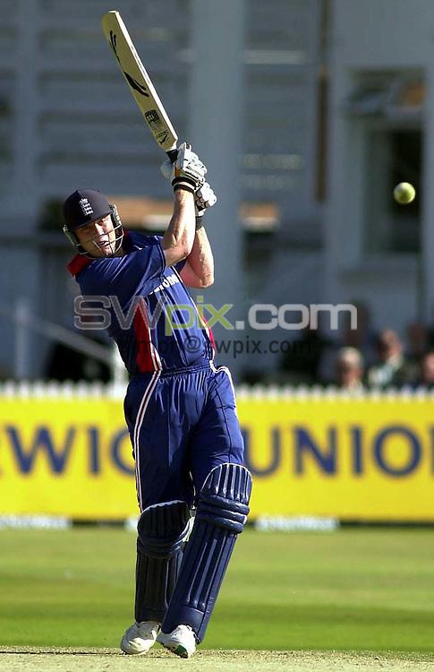 Pix: Matthew Lewis/SWpix.com. International Cricket. One Day Series. England v Sri Lanka, Trent Bridge. 27/06/2002...COPYWRIGHT PICTURE>>SIMON WILKINSON>>01943 436649>>..England's Andrew Flintcroft hits a six against Sri Lanka on the way to his fifty.