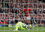 Marcus Rashford of Manchester United scores the first goal past Asmir Begovic of Chelsea during the English Premier League match at Old Trafford Stadium, Manchester. Picture date: April 16th 2017. Pic credit should read: Simon Bellis/Sportimage