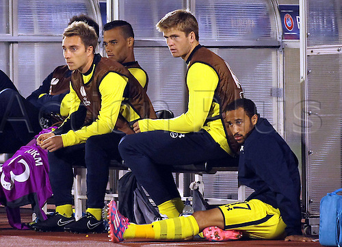 18.09.2014 Belgrade, Serbia. Europa League football, group stages. FK Partizan Belgrade versus Tottenham.  Christian Eriksen(L) with Erik Dier(c) and AndrTownsend(r) Tottenham on the bench during match