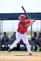 GCL Nationals outfielder Oliver Ortiz (26) at bat during a game against the GCL Marlins on June 28, 2014 at the Carl Barger Training Complex in Viera, Florida.  GCL Nationals defeated the GCL Marlins 5-0.  (Mike Janes/Four Seam Images)