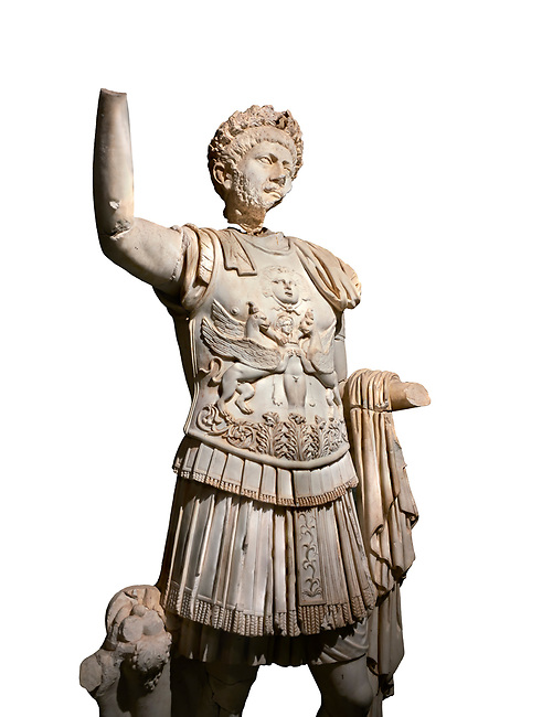 Roman statue of Emperor Trajan . Marble. Perge. 2nd century AD. Inv no . Antalya Archaeology Museum; Turkey. Against a white background.