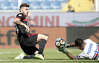 Calcio, Serie A: Genova, Stadio Luigi Ferraris, 24 settembre 2017. <br /> Milan's Patrick Cutrone (l) in action with Sampdoria's Christian Puggioni (r) during the Italian Serie A football match between Sampdoria and Milan at Genova's Luigi Ferraris stadium. September 24, 2017.<br /> UPDATE IMAGES PRESS/Isabella Bonotto