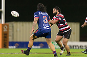 Coree Te Whata sends the ball wide. Mitre 10 Cup game between Counties Manukau Steelers and Tasman Mako's, played at ECOLight Stadium Pukekohe on Saturday October 14th 2017. Counties Manukau won the game 52 - 30 after trailing 22 - 19 at halftime. <br /> Photo by Richard Spranger.