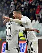 2nd February 2019, Allianz Stadium, Turin, Italy; Serie A football, Juventus versus Parma; Cristiano Ronaldo of Juventus celebrates with Douglas Costa after scoring the goal for 1-0 for Juventus in the 36th minute
