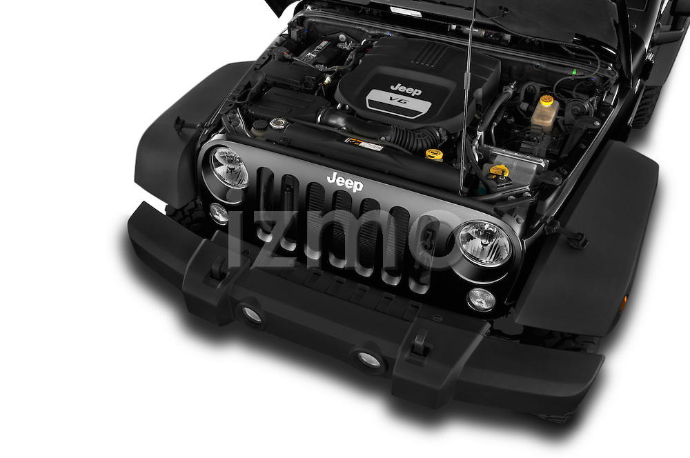 Car Stock 2015 JEEP Wrangler Rubicon 3 Door Suv 4WD Engine high angle detail view