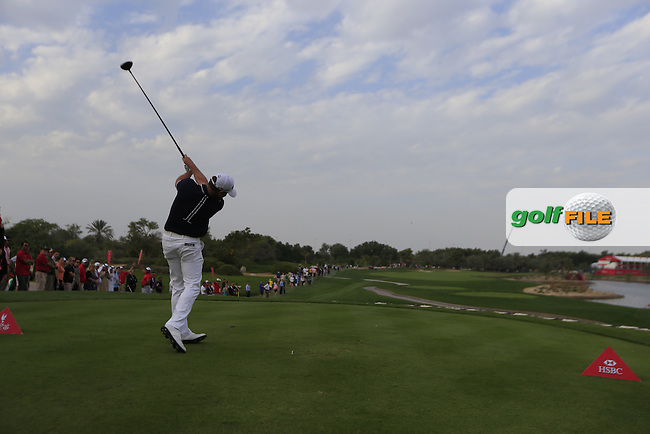 Jamie Donaldson (WAL) tees off the 18th tee during Sunday's Final Round of the Abu Dhabi HSBC Golf Championship 2015 held at the Abu Dhabi Golf Course, United Arab Emirates. 18th January 2015.<br /> Picture: Eoin Clarke www.golffile.ie