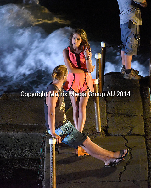 16 DECEMBER 2014 SYDNEY AUSTRALIA<br /> <br /> EXCLUSIVE PICTURES <br /> <br /> Isabella Giovinazzo pictured with Kiwi George Mason shooting a skinny dip scene at South Palm Beach pool, Palm Beach, NSW. <br /> <br /> *No internet without clearance*.MUST CALL PRIOR TO USE +61 2 9211-1088. Matrix Media Group.Note: All editorial images subject to the following: For editorial use only. Additional clearance required for commercial, wireless, internet or promotional use.Images may not be altered or modified. Matrix Media Group makes no representations or warranties regarding names, trademarks or logos appearing in the images.