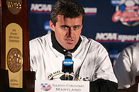 Maryland head coach Sasho Cirovski answers questions at the postgame press conference. The University of Maryland Terrapins defeated the University of New Mexico Lobos 1-0 in the Men's College Cup Championship game at SAS Stadium in Cary, NC, Friday, December 11, 2005.